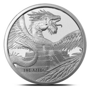 The-Aztec-1-oz-Silver-Round-Coin-World-of-Dragons-1-of-6-IN-STOCK