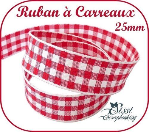 LARGE GALON RUBAN VICHY A CARREAUX ROUGE BLANC 25mm COUTURE HOME DECO LAYETTE