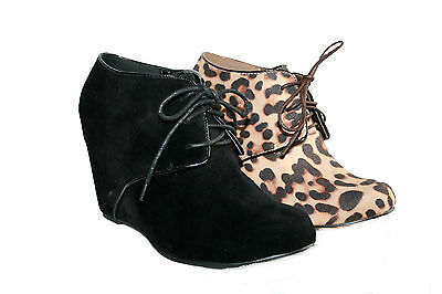 """LADIES 4"""" WEDGE HEEL LACE UP ANKLE BOOT IN BLACK FAUX SUEDE AND LEOPARD SIZE 3-8"""