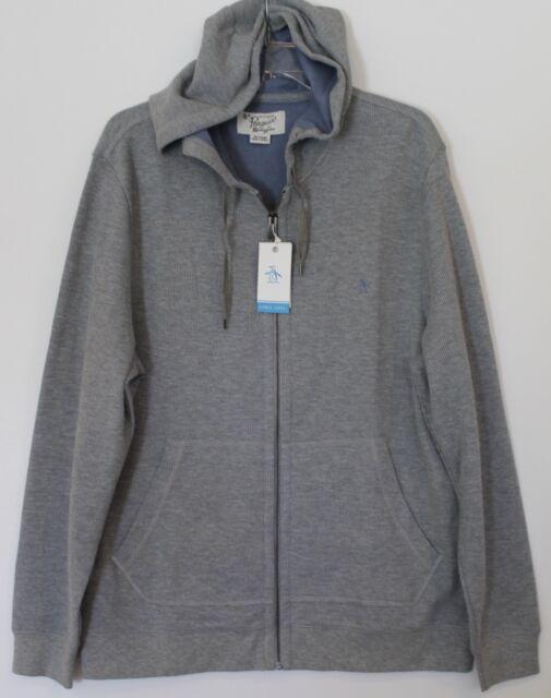 Penguin by Munsingwear Mens Gray Thermal Hoodie Sweat Jacket NEW $89 Size L