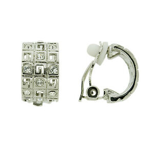 BRAND-NEW-SILVER-RHODIUM-PLATED-CLEAR-CUBIC-ZIRCONIA-CLIP-ON-EARRINGS