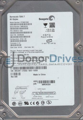 WU Seagate 80GB SATA 3.5 Hard Drive ST380013AS FW 8.12 5MR PN 9W2812-633