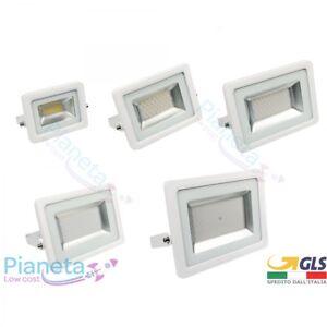Faro-Led-Slim-Esterno-IP65-Bianco-Freddo-10-20-30-50-100-W-WATT-Fari-Proiettore