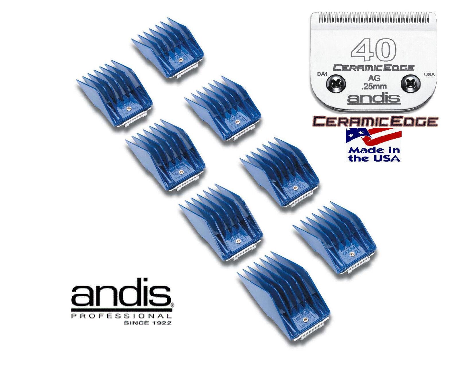 Andis AG BG CLIP SNAP ON 8 pc GUIDE Attachment Comb&40 CERAMICEDGE Clipper Blade