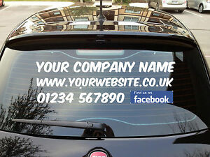 Personalised Business Rear Window Bespoke Car Van Vinyl Signs - Facebook window stickers for business uk