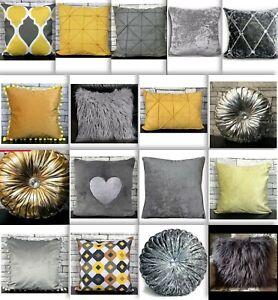 Cushion-cover-or-Filled-cushion-crush-velvet-shaggy-Mustard-silver-NEW-17-034-x-17-034