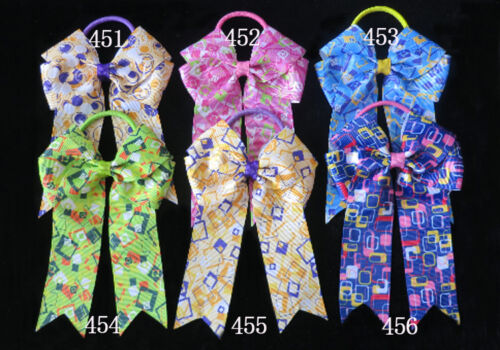 """50 BLESSING Good Girl Hair Accessories Long Tail 4.5/"""" Cheer Leader Bow Elastic"""