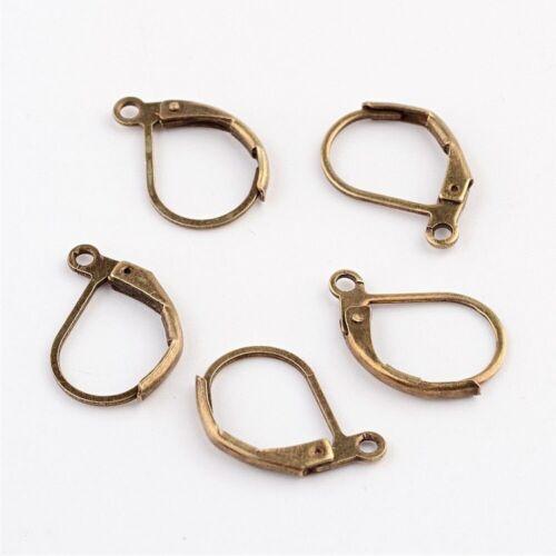 10 20 ou 50 Supports Boucles d/'oreilles Dormeuses 15mm x 10mm métal Bronze