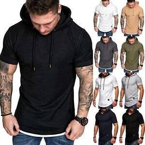 Mens Muscle Hooded Hoodie GYM Short Sleeve T Shirt Casual Slim Fit Tee Top Sport
