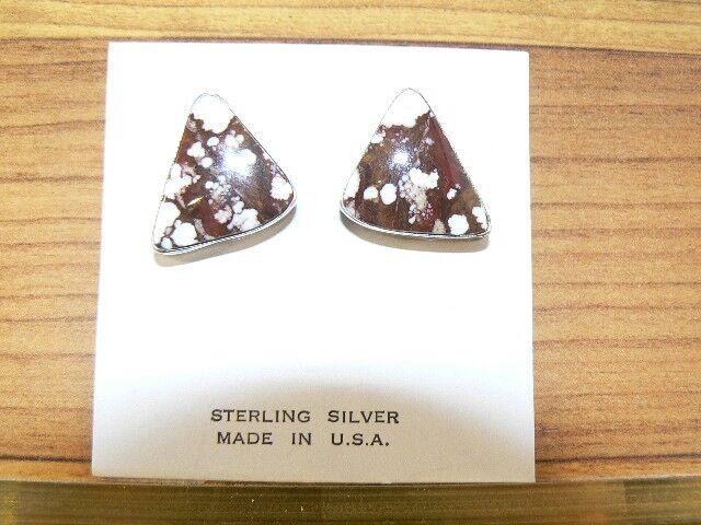 Native American Sterling Silver and Jasper Earrings (E210)