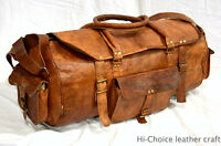 Bag Leather Travel Holdall Luggage Duffle Canvas Gym Weekend Mens Large Vintage