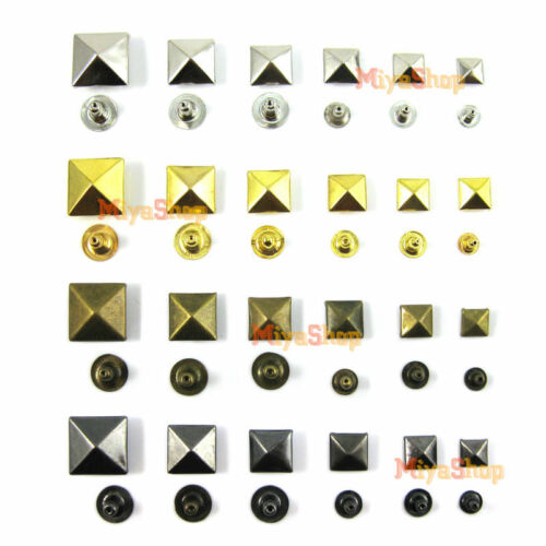 Pyramid Leather Square DIY Rivet Rock Spike Craft Studs Nailhead Spots Punk