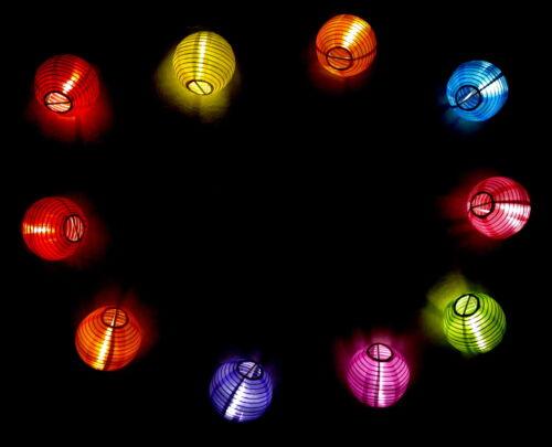10er LED Party Garten Deko Lampion Lichterkette Lampionkette Batteriebetrieben
