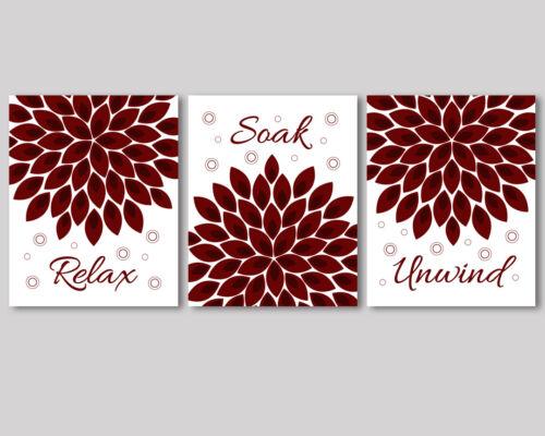 burgundy red flowers art for bathroom decor 3 prints Relax Soak Unwind quote