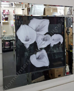 Black-amp-white-lily-flower-pictures-with-liquid-art-crystals-amp-mirror-frames