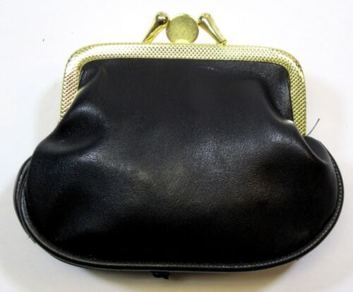 """FAUX LEATHER COIN PURSE  POUCH  BAG DOUBLE FRAME  ZIPPERED  4/"""" x 4/"""" size BG2709"""