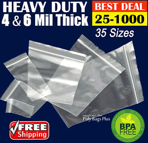 Clear-4-Mil-Ziplock-Bags-HEAVY-DUTY-Reclosable-Zip-Top-Plastic-Zipper-Poly-Ml-034