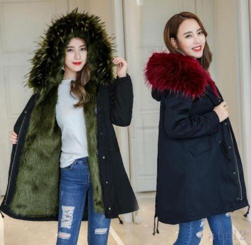 en hiver en manteaux manteaux chauds à Longs capuche manteau pour femmes doublés fourrure décontracté ample STgRwnHxq