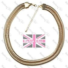 WIDE herringbone COLLAR NECKLACE bling SNAKE CHAIN 18K gold plated SLINKY choker