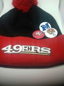 New-Era-NFL-San-Francis-49ers-Team-Button-Up-Cuffed-Knit-Pom-Beanie-Cap-New