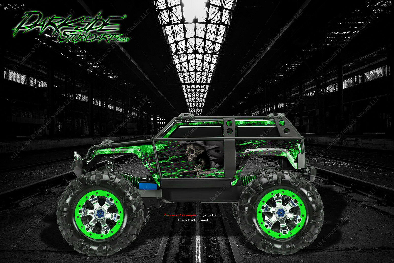 TRAXXAS SUMMIT  GRAPHICS WRAP DECALS  HELL RIDE  FOR OEM corpo PARTS verde FLAME  solo per te
