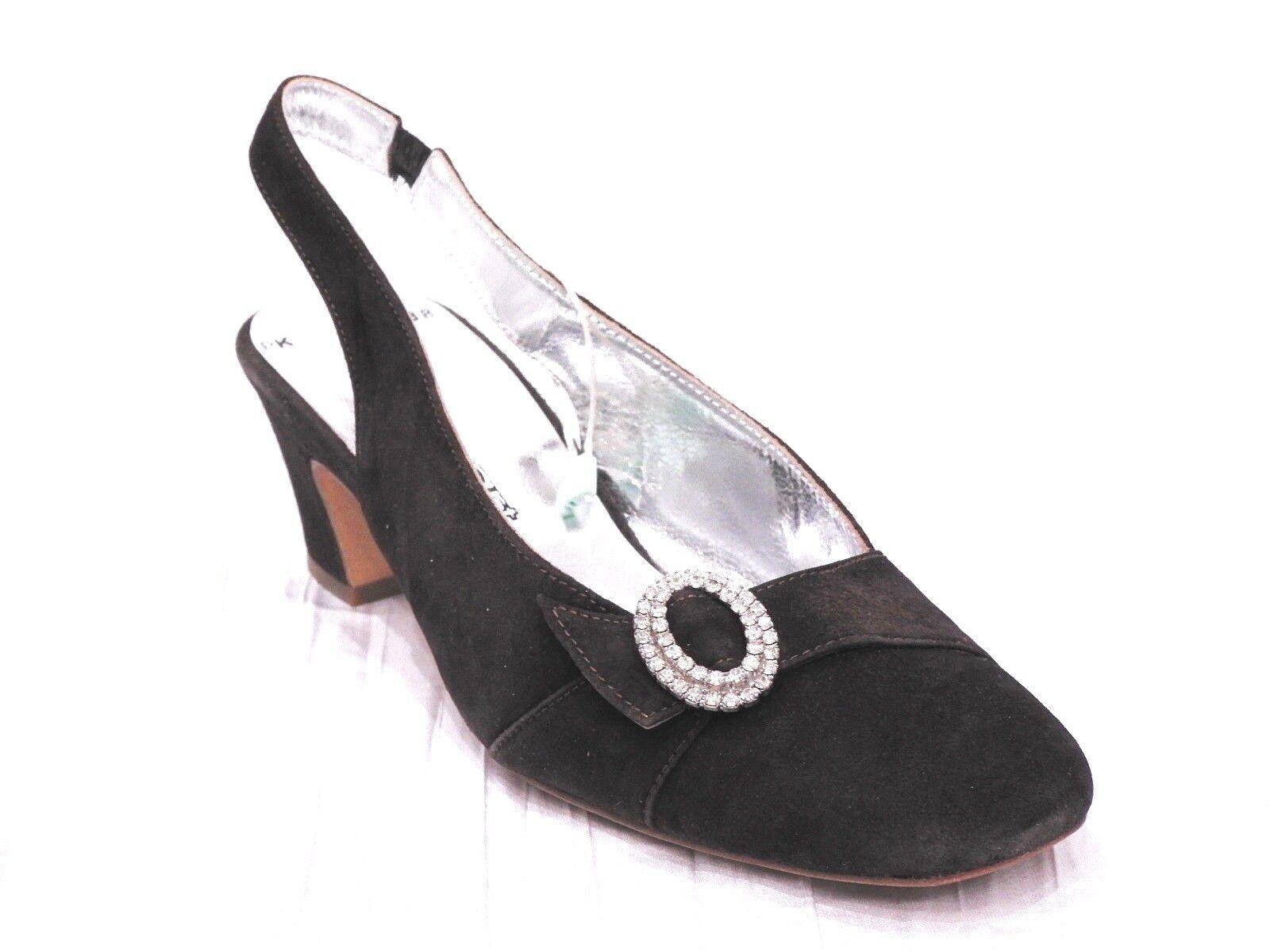edizione limitata New Priv Art Marrone Suede Suede Suede LEATHER Crystal Buckle Pumps Heels 38 7.5 Made in ITALY  economico e di alta qualità