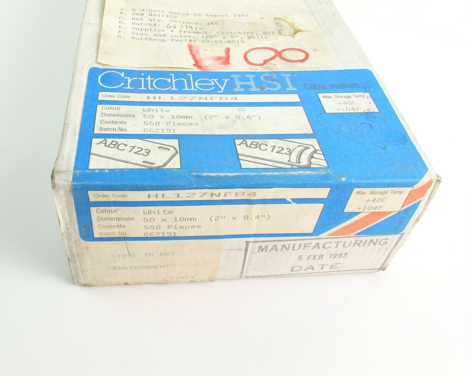 Critchley HSI HL127NFB4 White Cable Markers 50x10mm 550pcs