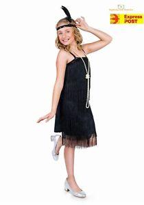 49d645b1f83e1 Image is loading Girls-Black-Flapper-Costume-Childs-1920s-Charleston-Fancy-