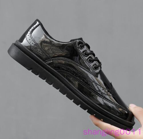 Mens Flats Board shoes Round toe Wing tip Shiny Lace up Casual Fashion Sneakers