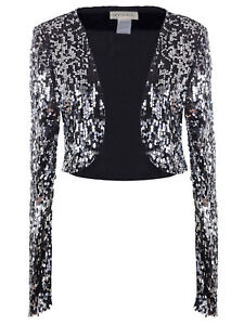 684b59cd67 Details about Womens Black Sequin Long Sleeve Glitter Cropped Blazer Bolero  Shrug Party Top