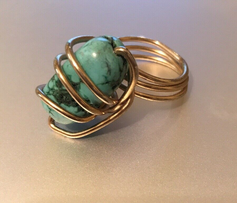 Handmade Ring 14K gold Filled Wire Wrap Stone Turquoise Size 8