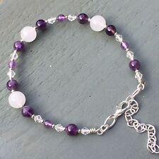 "Amethyst, Cloudy Clear Quartz Silver plated Bracelet 7"" to 9"" Chakra Reiki Wicca"