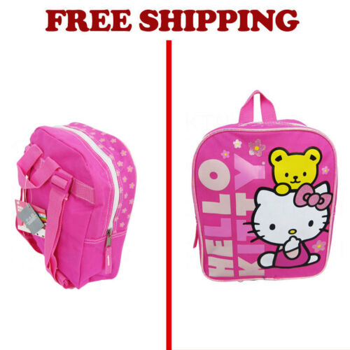 New Sanrio Hello Kitty Pink Flowers Yellow Bear Kids Backpack School Supplies
