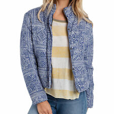 NEW* Billabong L COAT Puffer JACKET TOP $120 Retail Blue Ivory Cotton Jericho