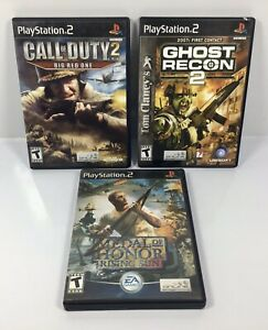 PS2-LOT-of-3-MILITARY-WAR-GAMES-Call-of-Duty-2-Ghost-Recon-2-Medal-Of-Honor