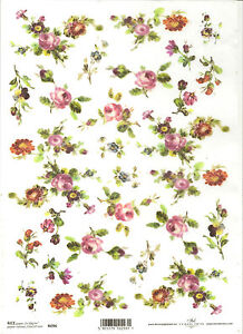 Rice Paper for Decoupage Scrapbook Craft Pink Roses Flowers 366