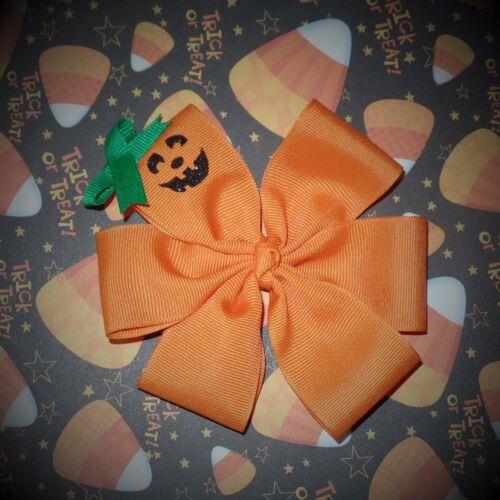 Halloween~Pumpkin~Boutique~Hair Bow~Glitter Pumpkin Face~Green Top~