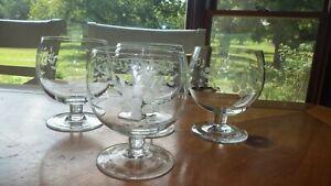 Vintage-Etched-Brandy-Snifters-glasses-1950s-floral-design-stems-4-12oz-elegant