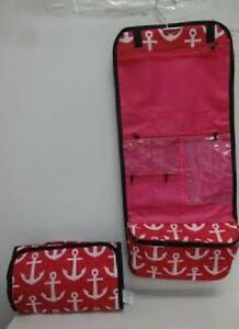 Cosmetic-CASE-Hanging-Makeup-Bag-Roll-Travel-Organizer-ANCHORS-PINK-NEW