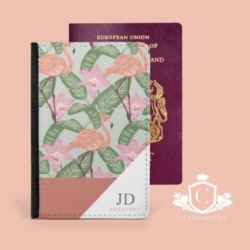 Personnalisé Flamingo Leaf Passport Cover Case de voyage portefeuille porte-CNP-169
