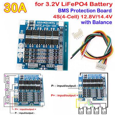 4S 30A 3.2V LiFePo4 LiFe 12.8V w//Balance 18650 Battery BMS Protection PCB Board