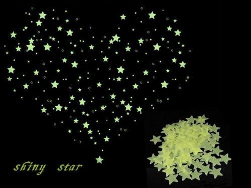 Bling Charm Kid Bedroom Decor Fluorescent Glow Star Ceiling Wall Sticker 100pcs