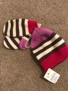 New BABY GAP Navy Blue /& Red  HAT /& MITTEN SET 6-12 months Winter Gift Christmas