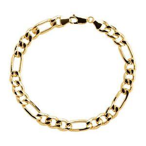 "Eternity Gold Men's Figaro Chain Bracelet in 10K Gold, 9"""