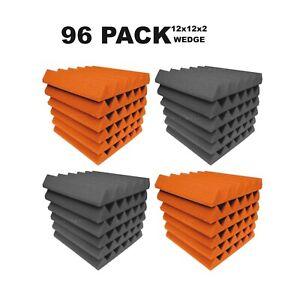 Acoustic-Foam-12x12x2-034-Wedge-96-Pack-Orange-Gray-Combo-Soundproof-recording-tile