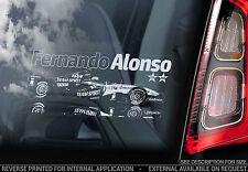 Fernando Alonso-Finestra Auto Adesivo-F1 Champion Formula 1 Decalcomania Segno ART-V02