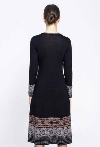 IVKO Kleid Wolle schwarz rot Intarsienmuster 192640 Merino