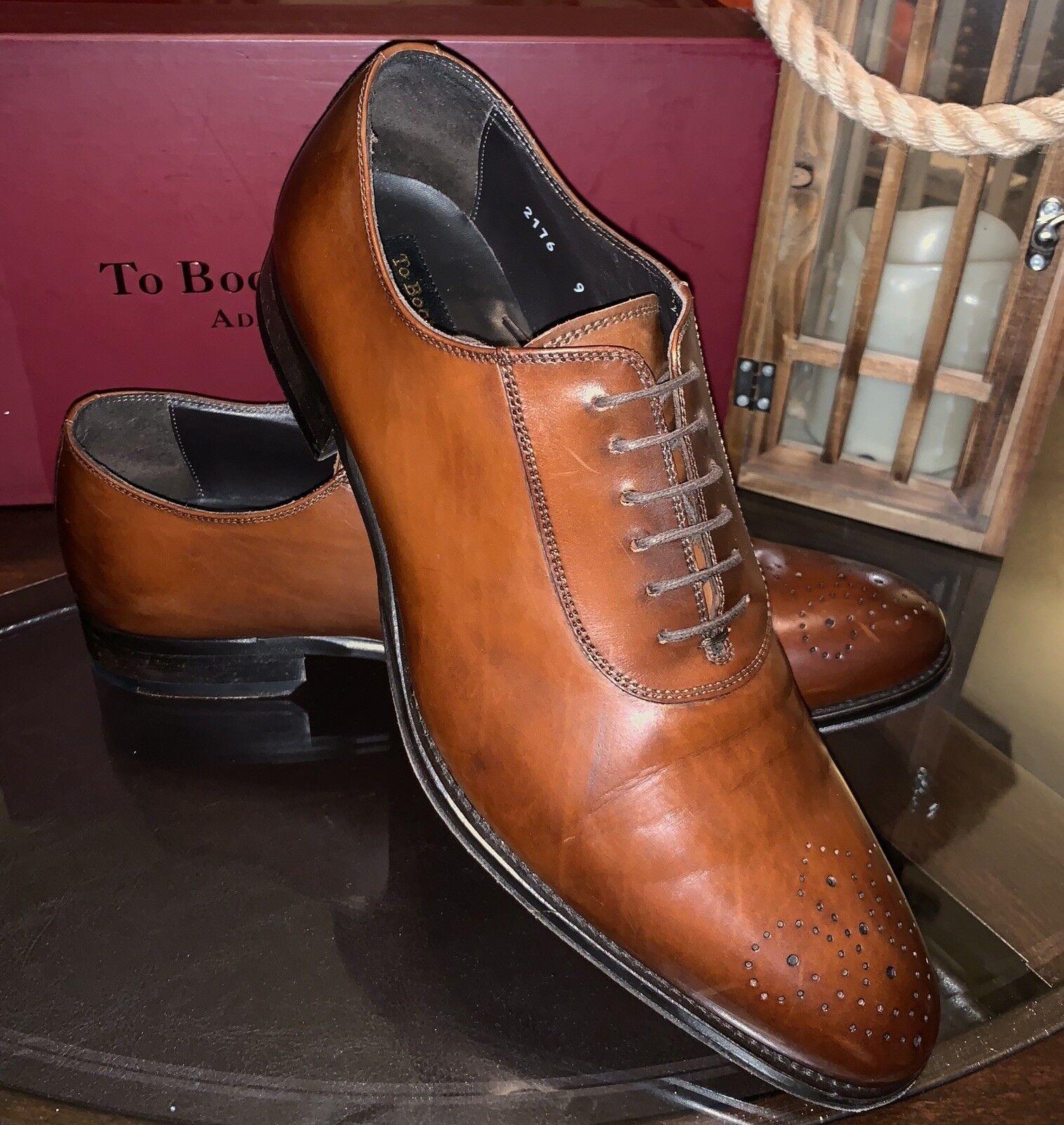 "To Stiefel New York ""Bateman"" Gentleman's Dress schuhe Sz 9.5 Made In  Cognac"