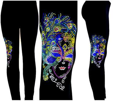REGULAR SIZE LEGGINGS EMBELLISHED RHINESTONE /& STUD Mardi Gras Peacock Feathers