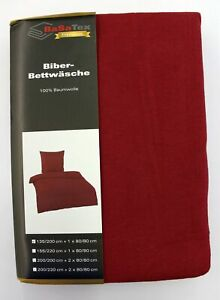BaSaTex-Warme-Winter-Biber-Bettwaesche-135-x-200-cm-80-x-80-cm-Bordeaux